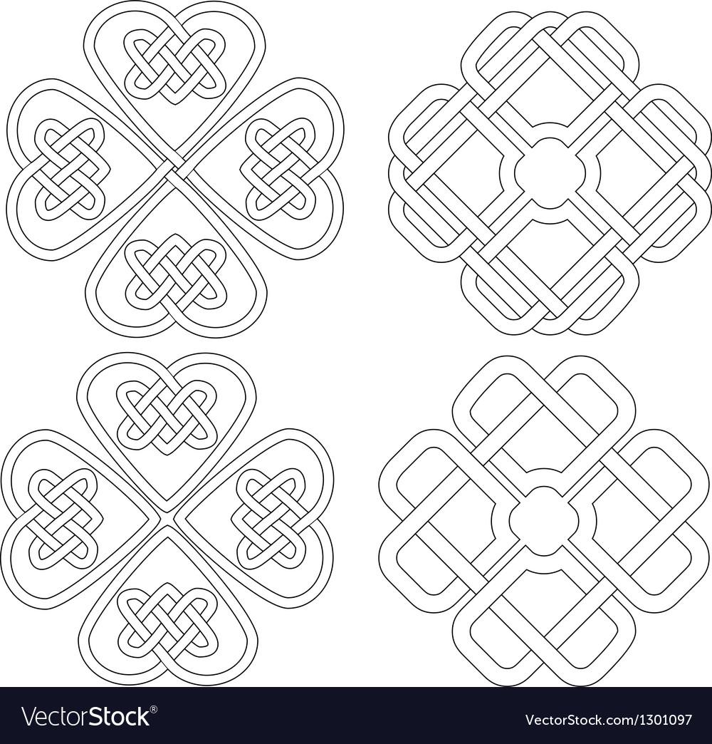 4 celtic designed four-leave clovers vector | Price: 1 Credit (USD $1)