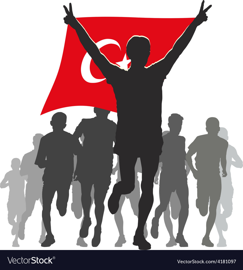 Athlete with the turkey flag at the finish vector | Price: 1 Credit (USD $1)