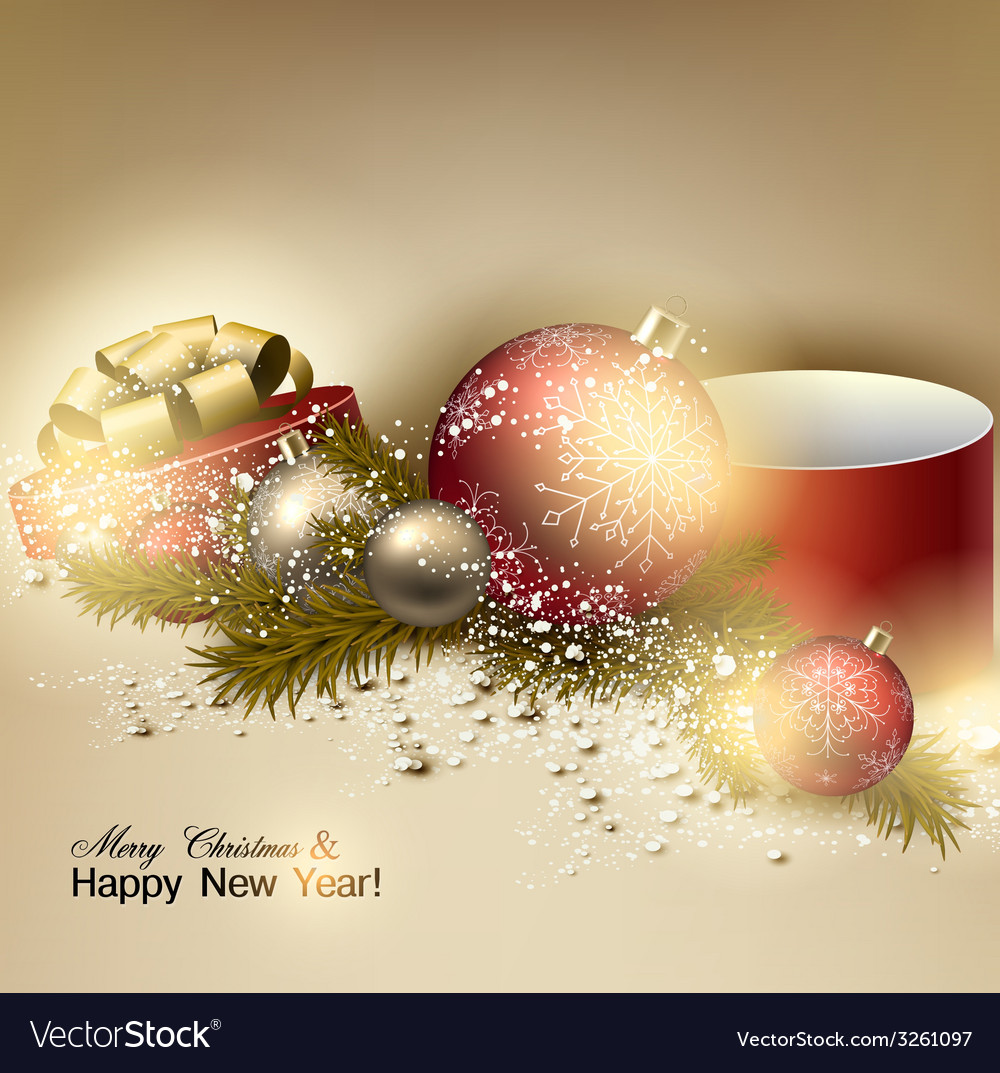 Beautiful christmas background with red and golden vector | Price: 1 Credit (USD $1)