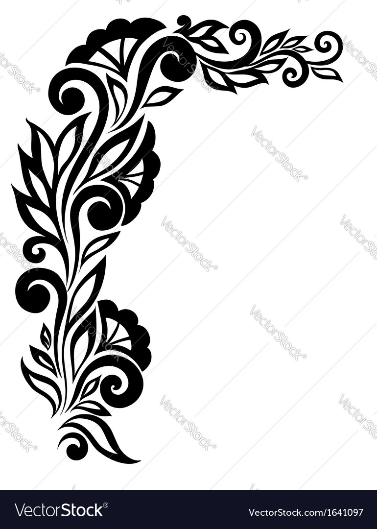 Black-and-white lace flower in the corner vector | Price: 1 Credit (USD $1)