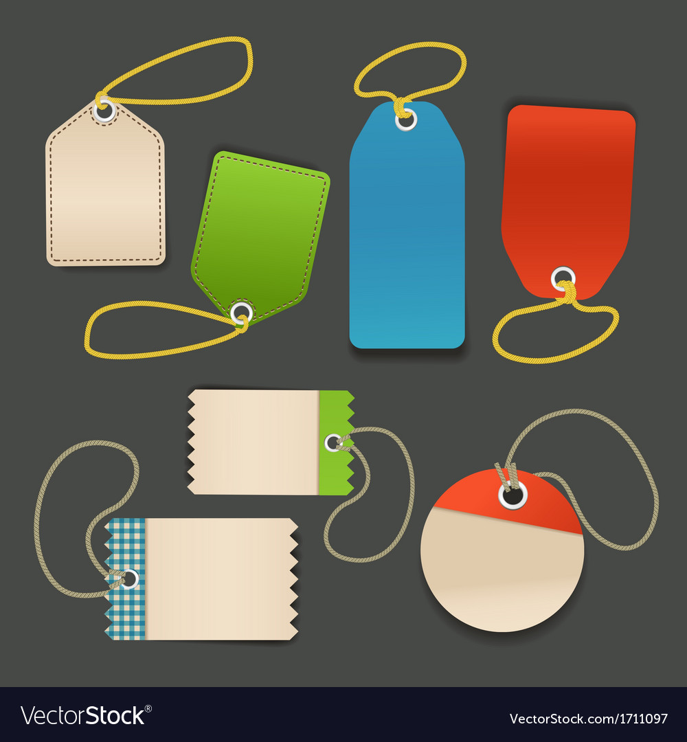 Blank shopping tags with rope template vector | Price: 1 Credit (USD $1)