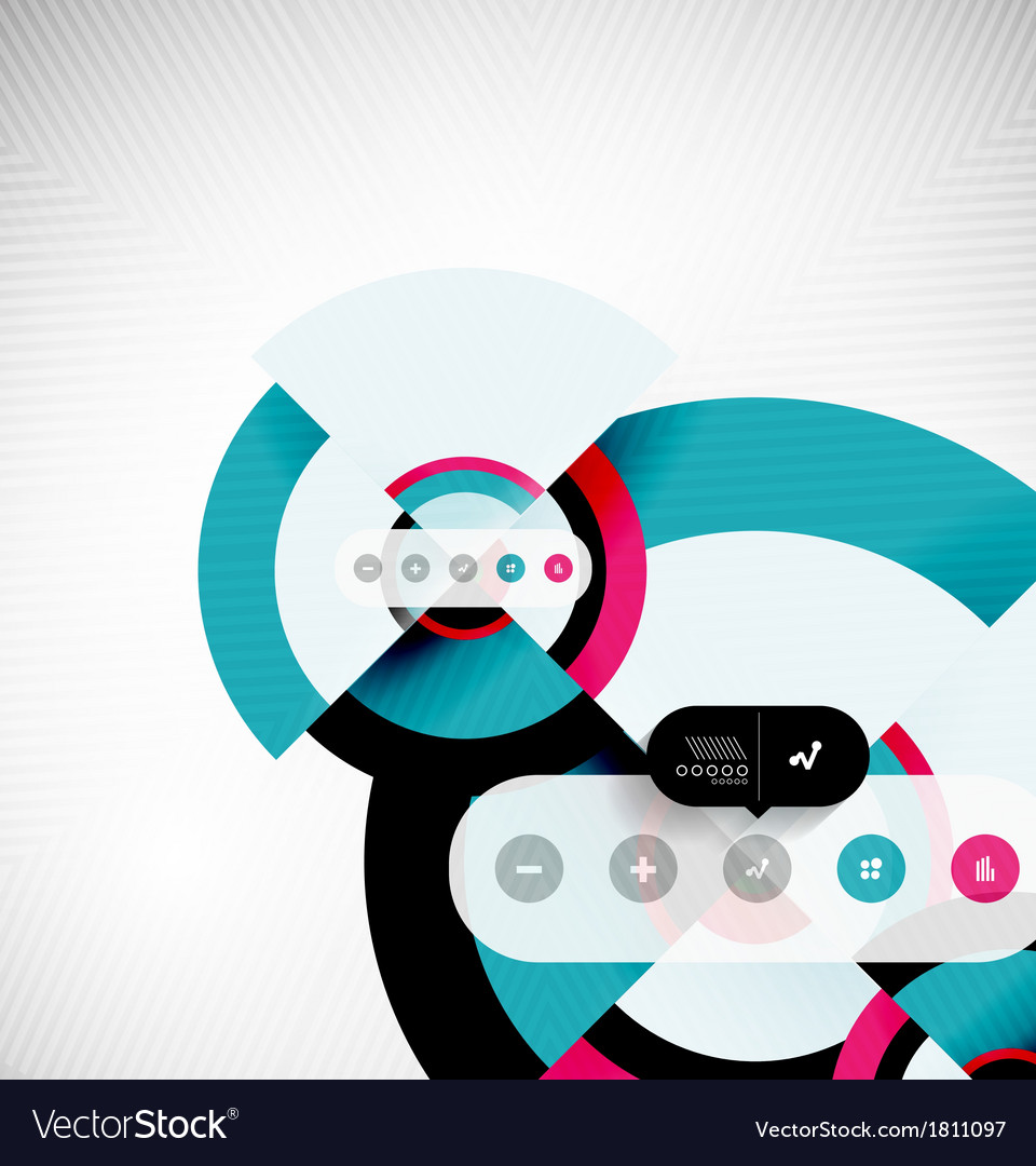 Circle geometric shapes flat interface design vector | Price: 1 Credit (USD $1)