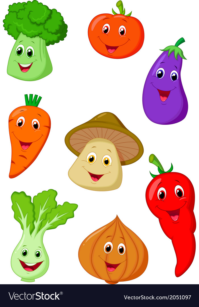 Cute vegetable cartoon vector | Price: 1 Credit (USD $1)