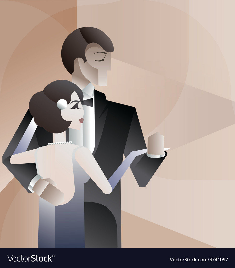 Dancing couple art deco geometric style poster vector | Price: 3 Credit (USD $3)