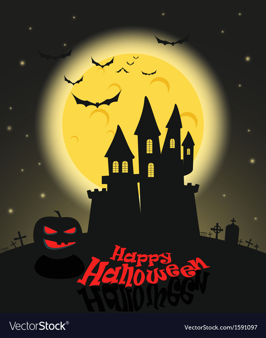 Dark castle in a full moon happy halloween vector | Price: 1 Credit (USD $1)