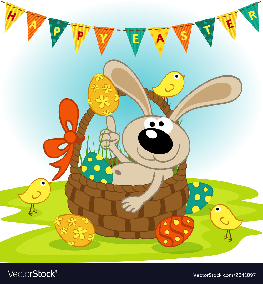 Easter bunny in basket vector | Price: 1 Credit (USD $1)
