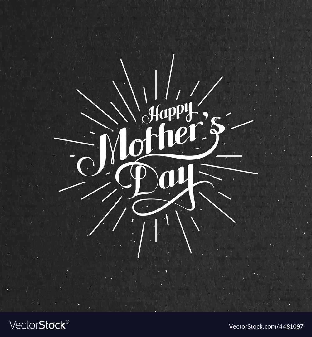 Happy mothers day retro label with light rays vector | Price: 1 Credit (USD $1)