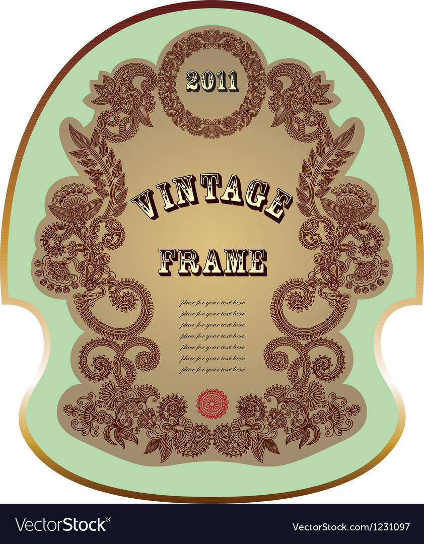 Original hand draw ornate floral vintage label vector | Price: 1 Credit (USD $1)