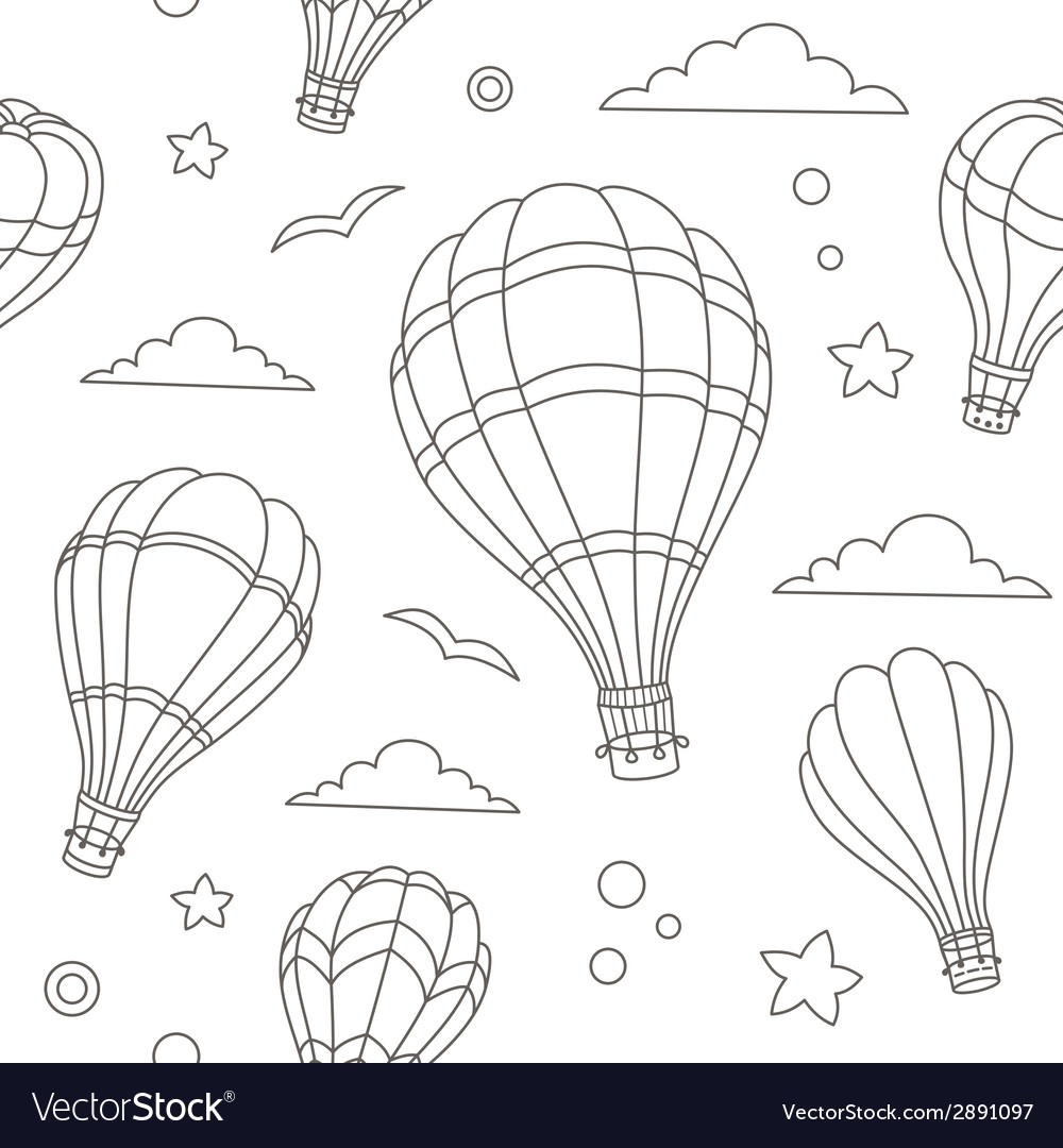 Seamless pattern of hot air balloons on the sky vector | Price: 1 Credit (USD $1)
