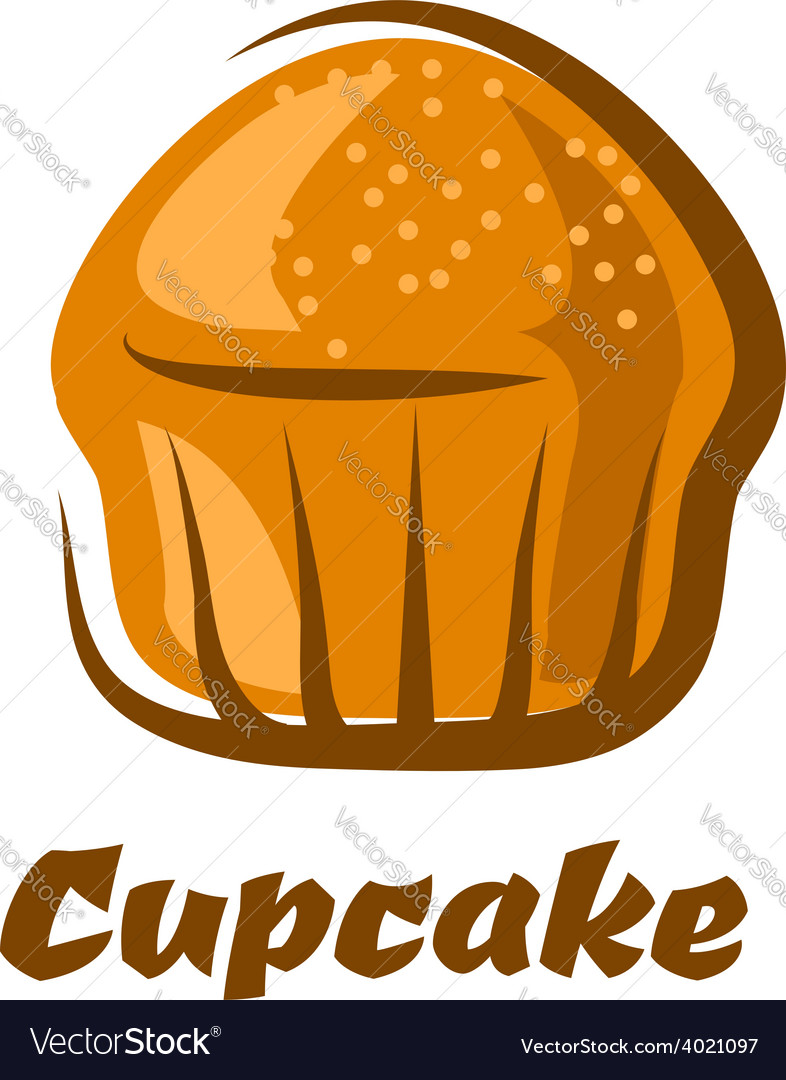 Traditional brown cupcake isolated on white vector | Price: 1 Credit (USD $1)