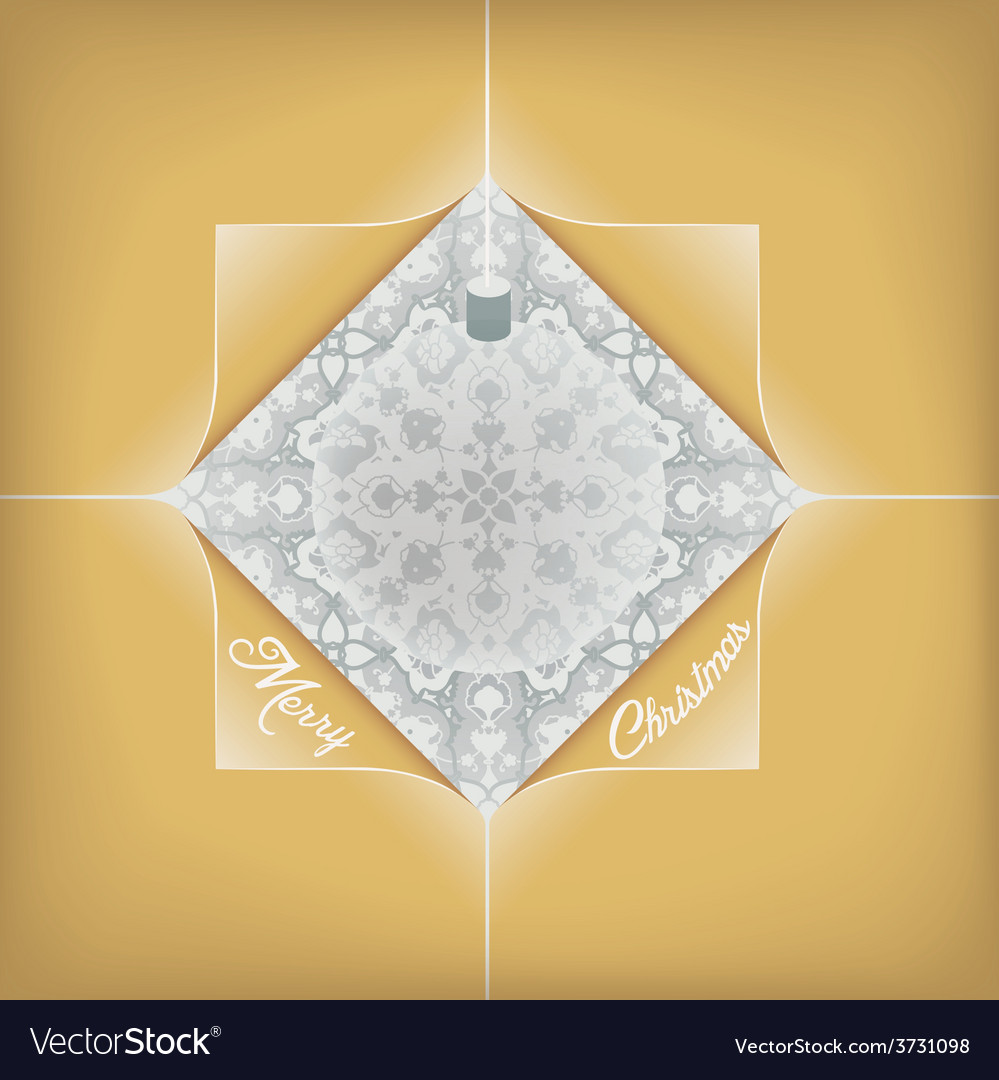 Christmas golden greeting card with bauble vector | Price: 1 Credit (USD $1)