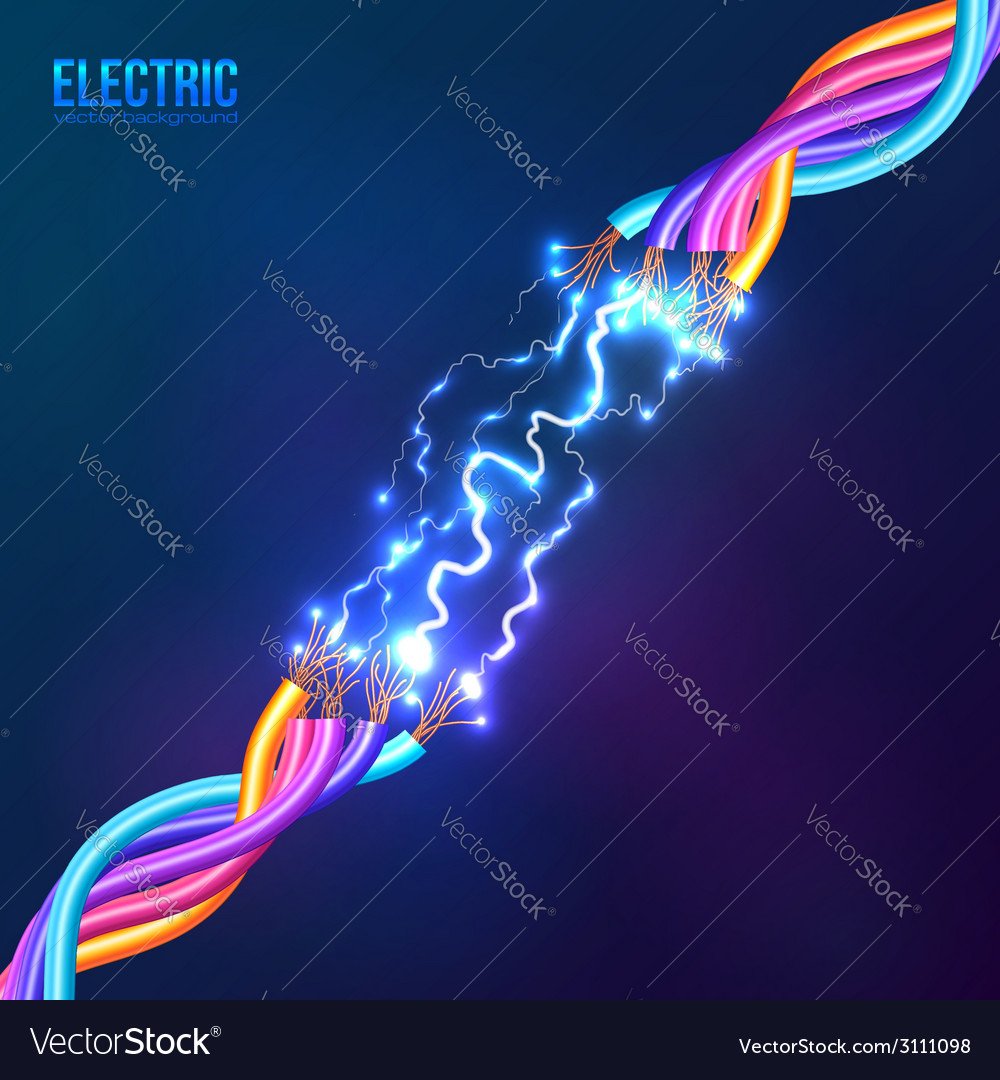 Electric lightning between colored cables vector | Price: 1 Credit (USD $1)