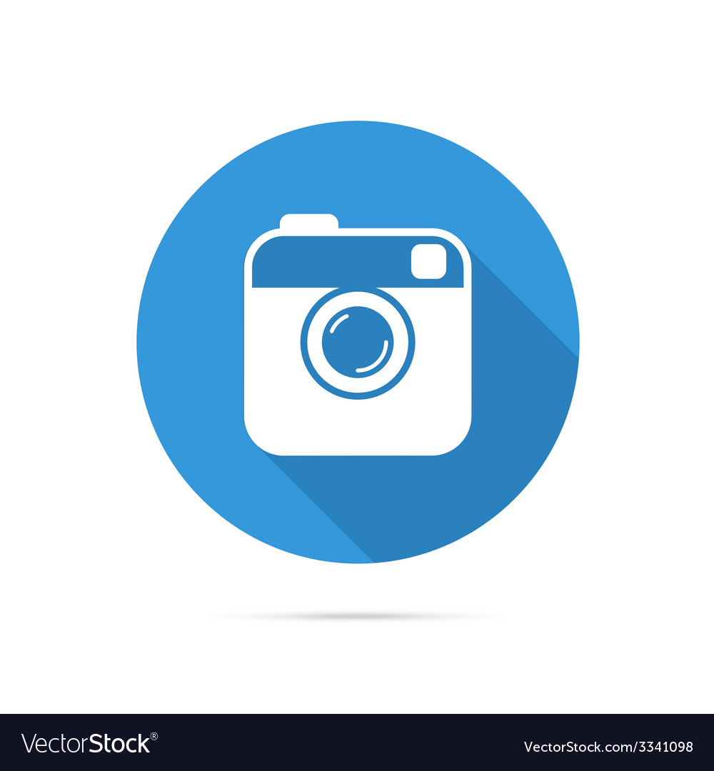 Hipster photo or camera flat icon with long shadow vector | Price: 1 Credit (USD $1)