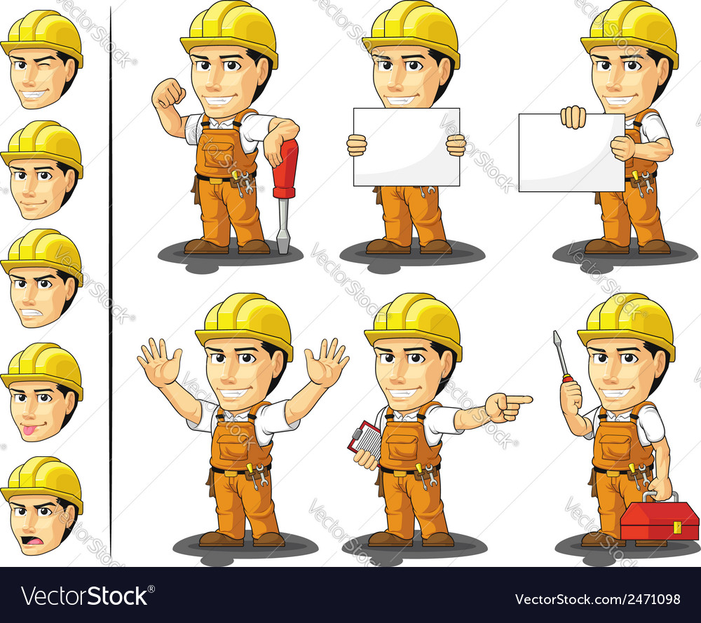 Industrial construction worker mascot vector | Price: 1 Credit (USD $1)