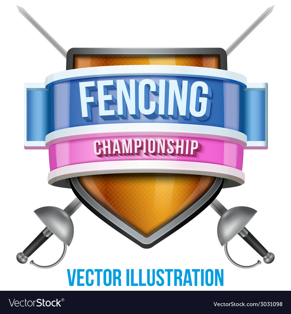 Label for fencing sport competition bright premium vector | Price: 1 Credit (USD $1)