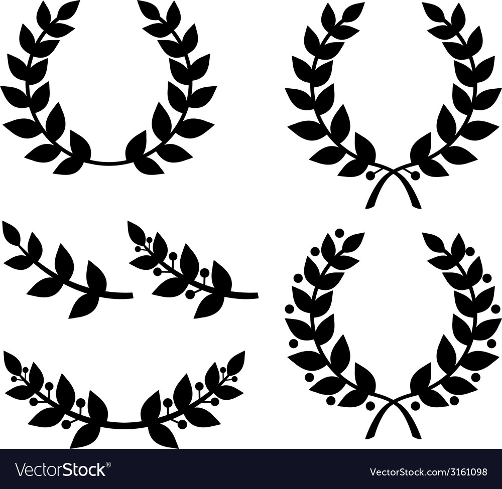 Laurel wreath black vector | Price: 1 Credit (USD $1)
