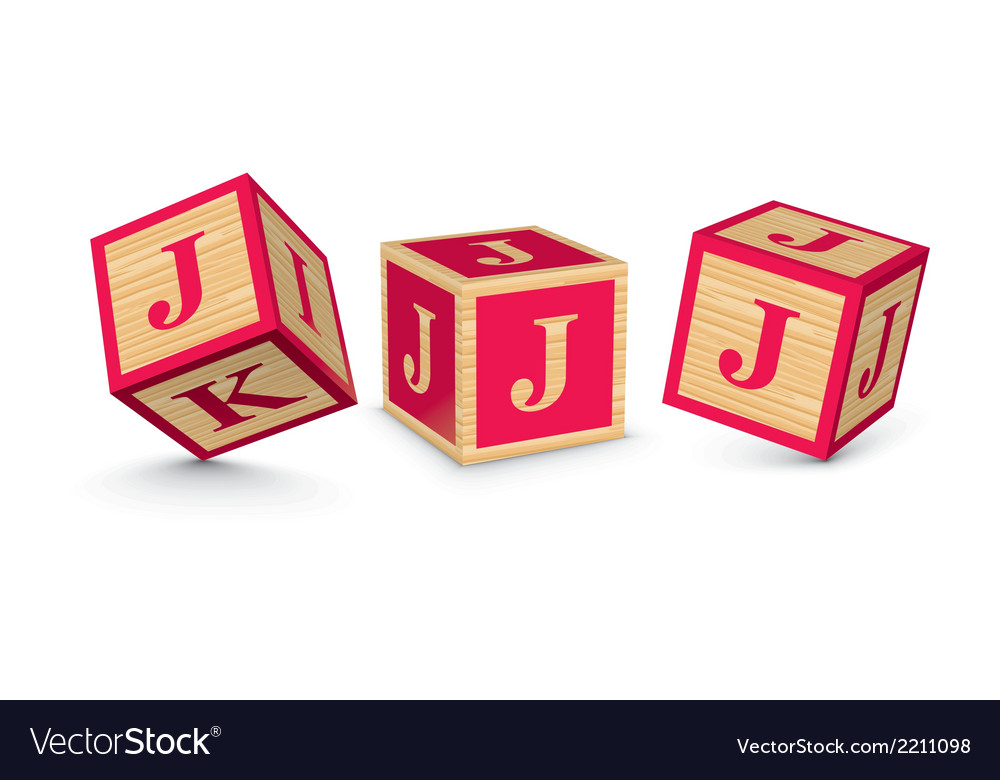 Letter j wooden alphabet blocks vector | Price: 1 Credit (USD $1)