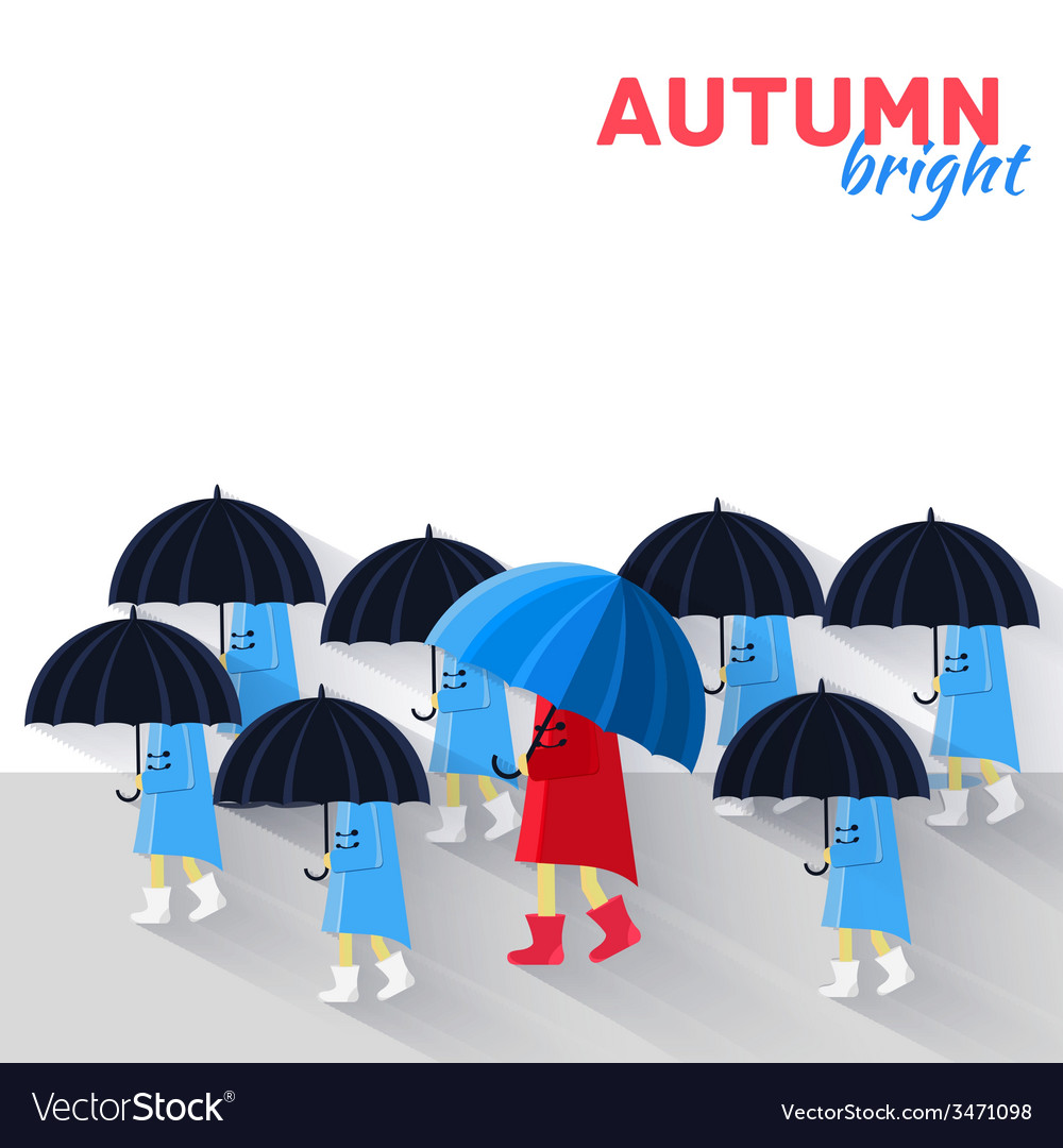 People with umbrella in a autumn raining day vector | Price: 1 Credit (USD $1)