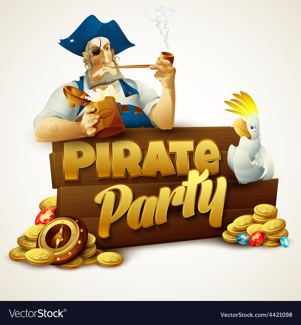 Pirate party poster vector | Price: 5 Credit (USD $5)