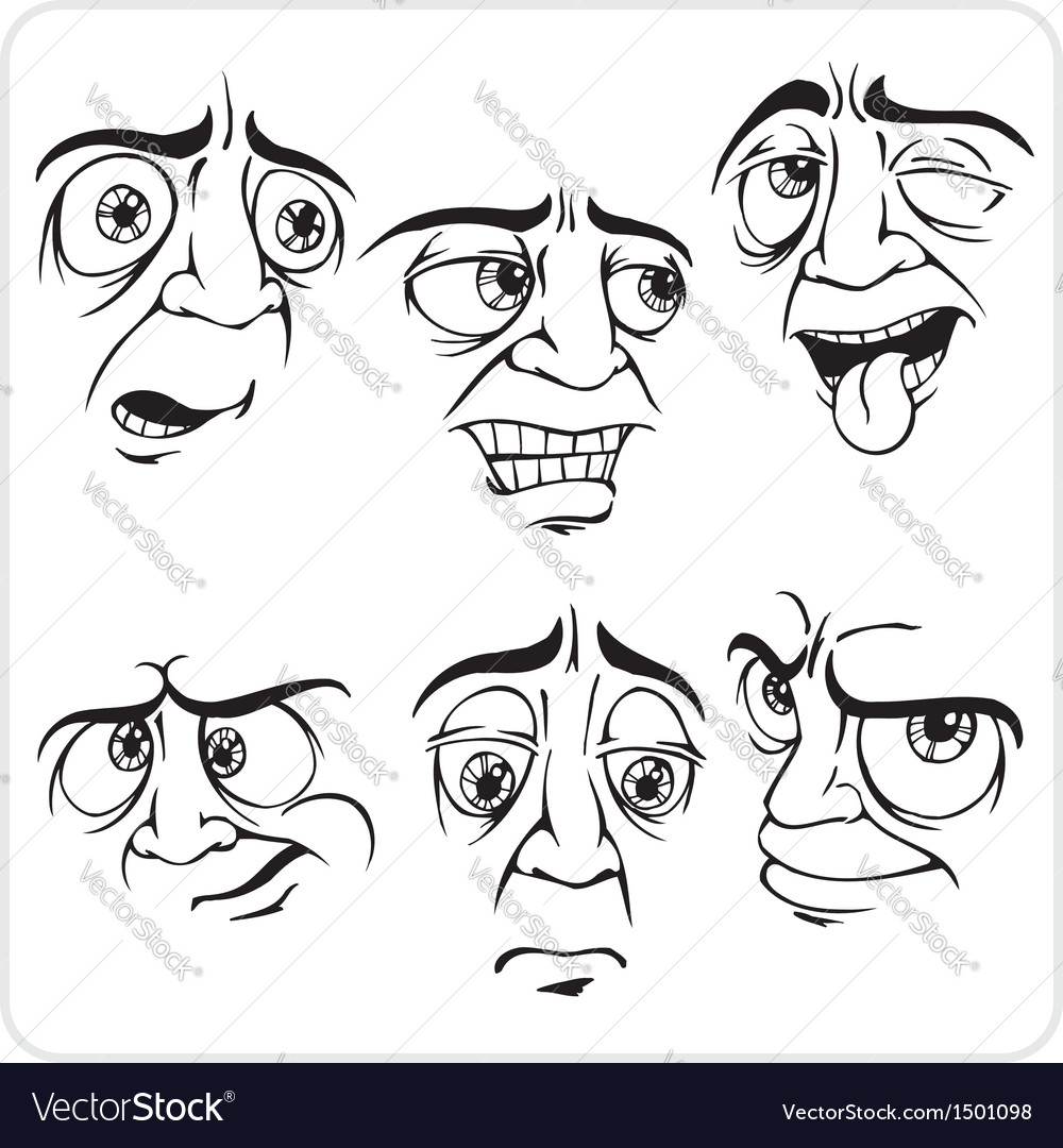 Sad facial expressions - set vector | Price: 1 Credit (USD $1)