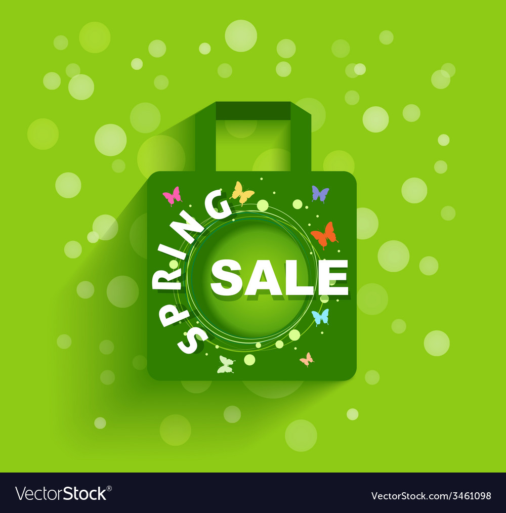 Shopping bag spring sale background vector | Price: 1 Credit (USD $1)