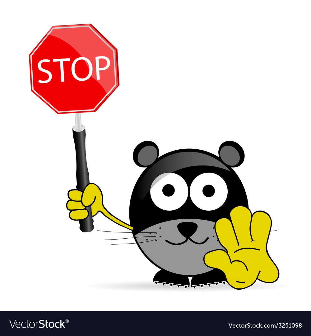 Sweet and cute mouse with sign stop vector | Price: 1 Credit (USD $1)