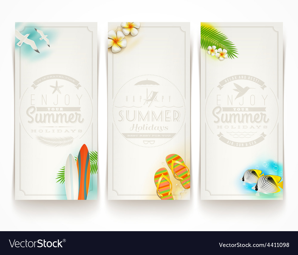 Travel and vacation banners with type design vector | Price: 1 Credit (USD $1)