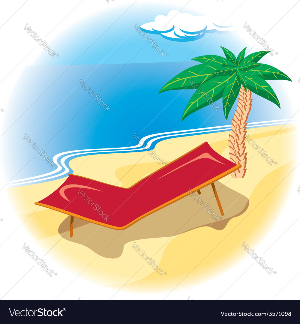 Tropical coast with deck chair vector | Price: 1 Credit (USD $1)