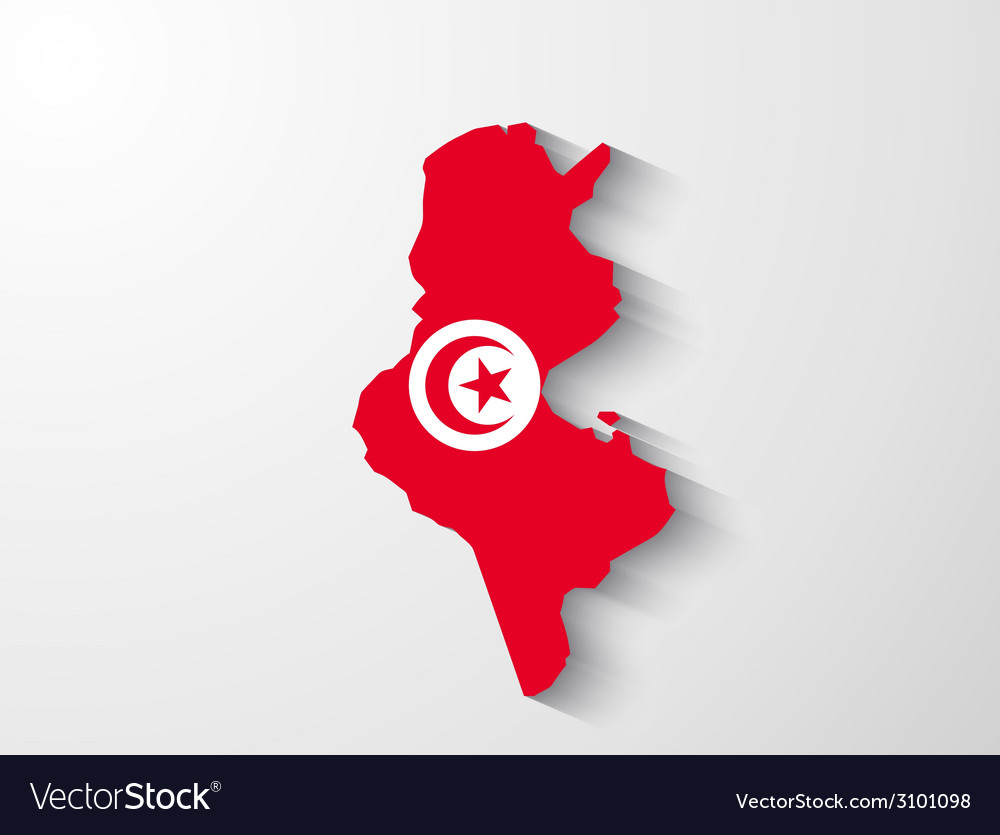 Tunisia map with shadow effect vector | Price: 1 Credit (USD $1)