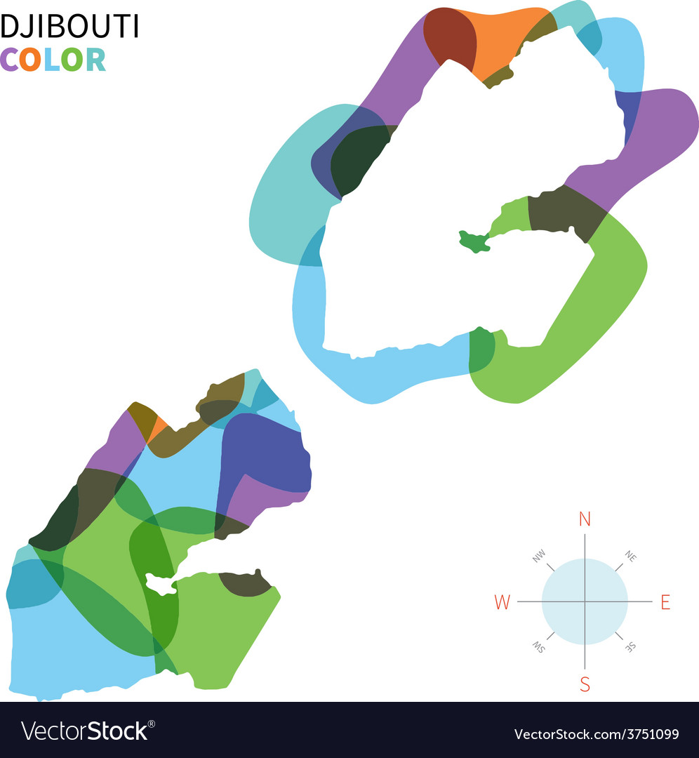 Abstract color map of djibouti vector | Price: 1 Credit (USD $1)