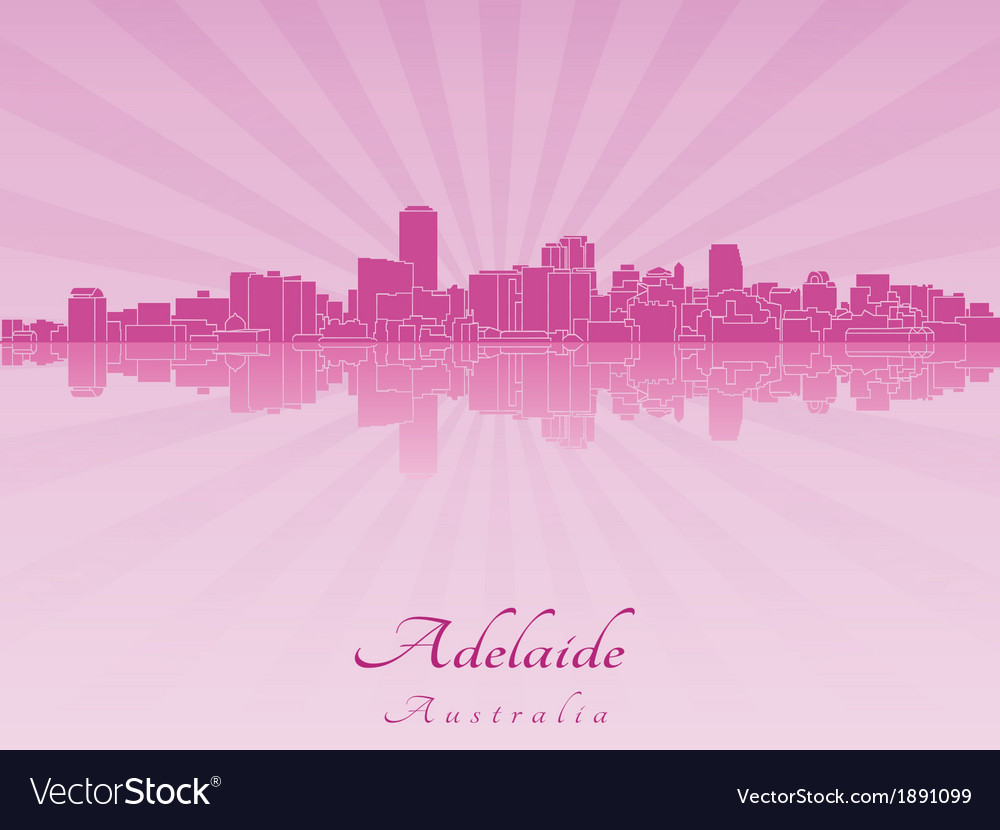 Adelaide skyline in radiant orchid vector | Price: 1 Credit (USD $1)
