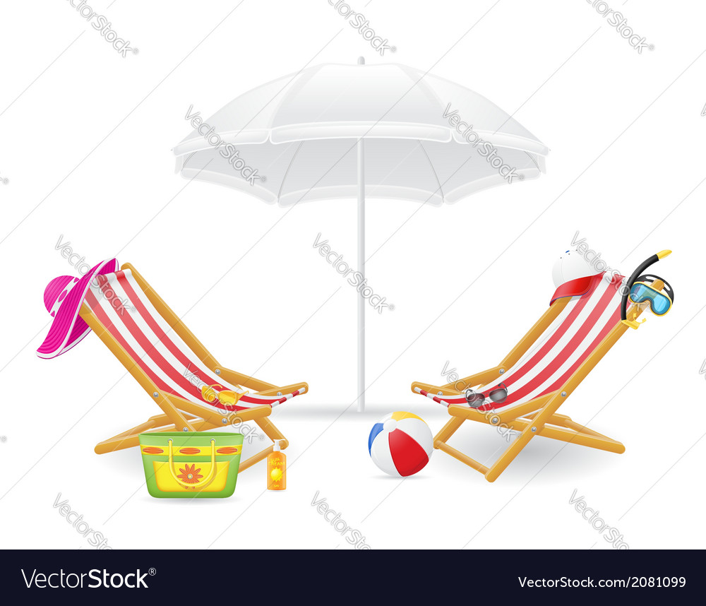 Beach chairs and parasol 02 vector | Price: 1 Credit (USD $1)
