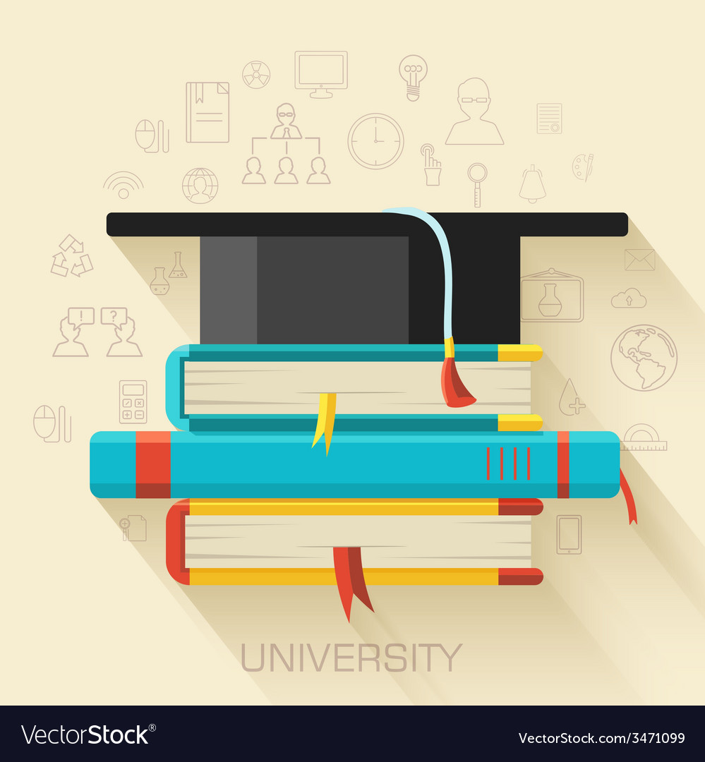 Book with square academic cap icon concept design vector | Price: 1 Credit (USD $1)