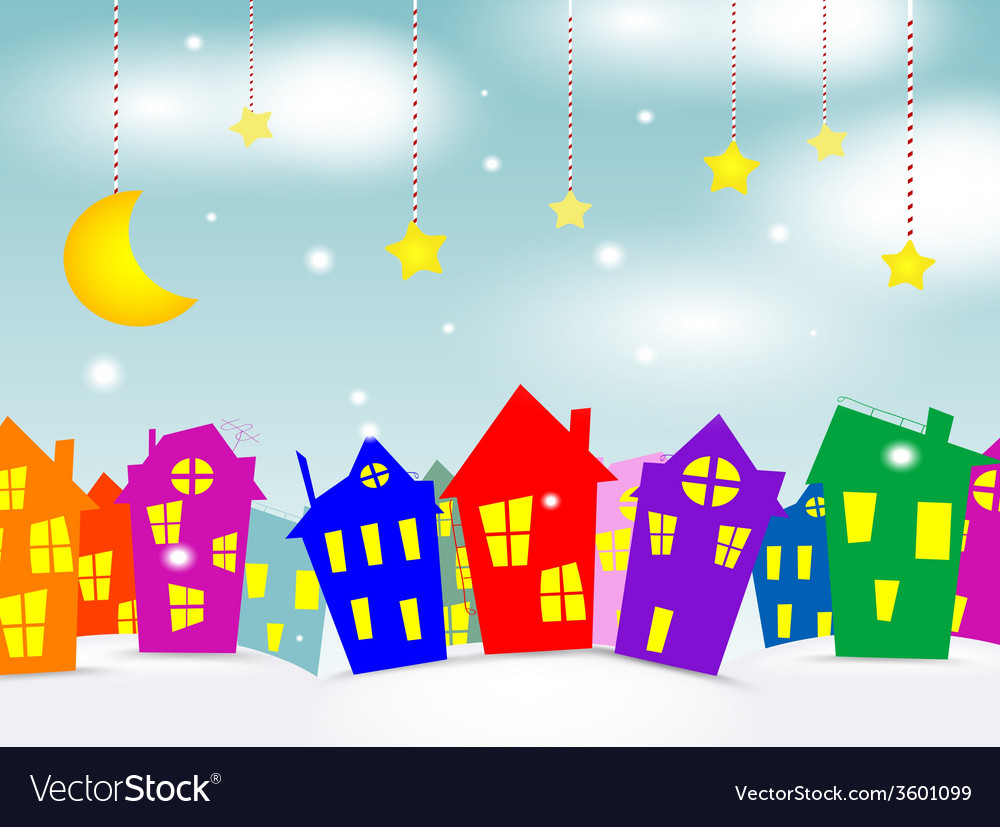 Cartoon winter city vector | Price: 1 Credit (USD $1)