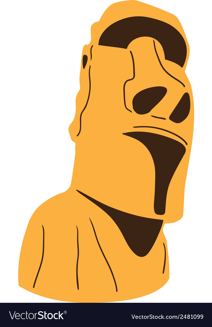 Easter island moai statue isolated on white vector | Price: 1 Credit (USD $1)