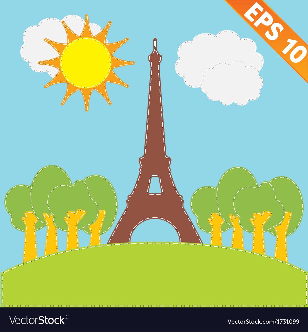 Eiffel tower with stitch style background - vector | Price: 1 Credit (USD $1)