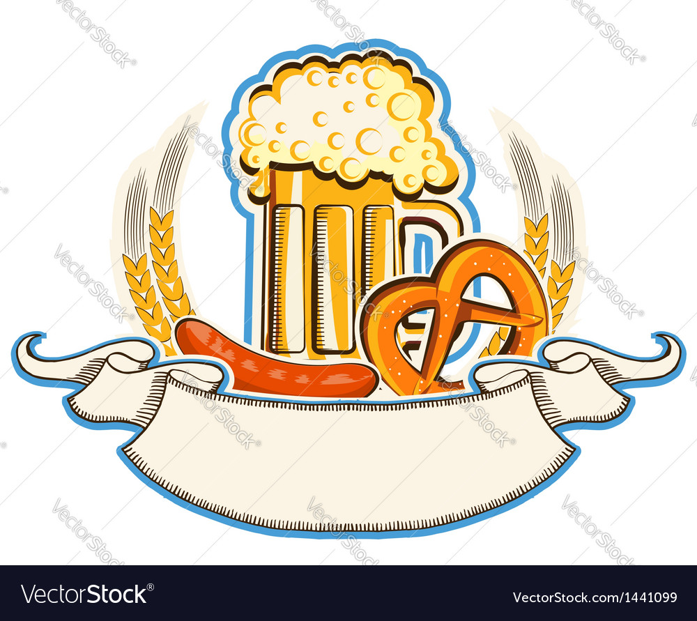 Oktoberfest symbol with beer and traditional food vector | Price: 1 Credit (USD $1)