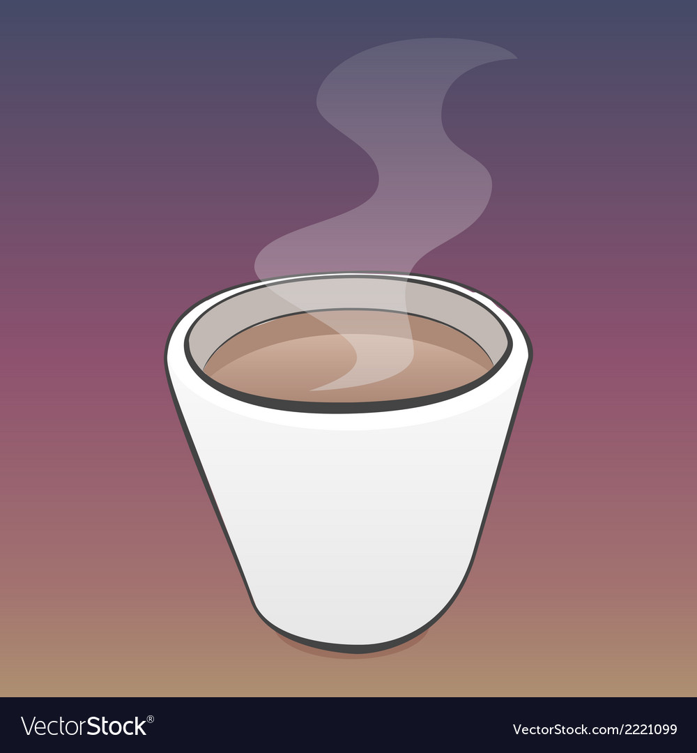 Pretty cup of coffee with steam and outlines vector | Price: 1 Credit (USD $1)