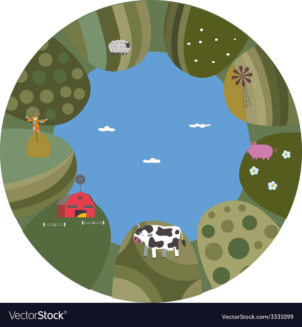 Rural summer landscape vector   Price: 1 Credit (USD $1)