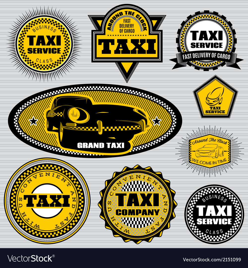 Set of labels to topic taxi and trucking vector | Price: 1 Credit (USD $1)