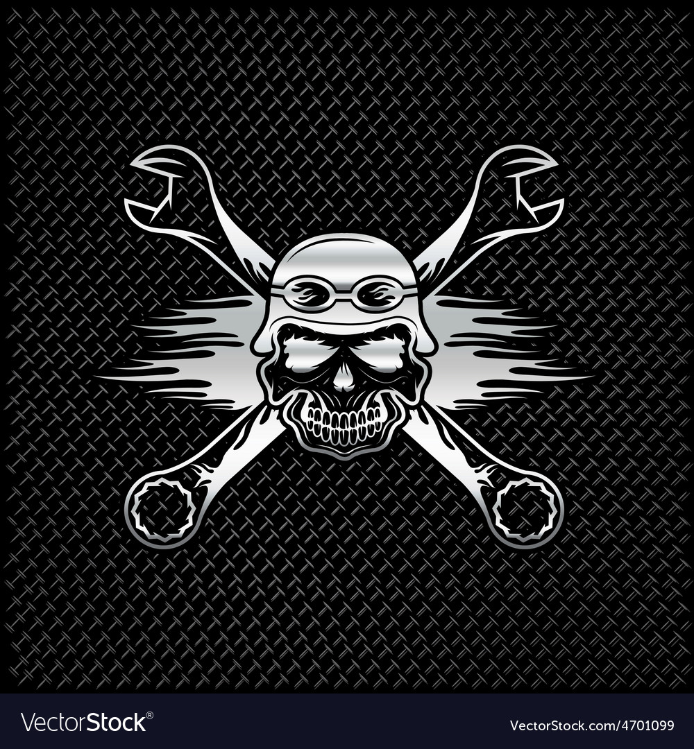 Silver skull in helmet and wrenches with flames vector | Price: 1 Credit (USD $1)