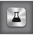 Laboratory equipment icon - metal app button vector
