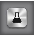Laboratory equipment icon - metal app button vector