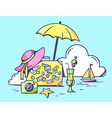 Travel suitcase with summer accessories o vector