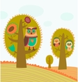 Cute colorful trees with owls vector