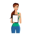 Woman showing tablet computer portrait vector