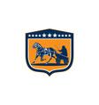 Horse and jockey harness racing shield retro vector