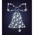 Christmas bell made from diamonds vector