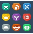 Hotel services icons set flat iu vector