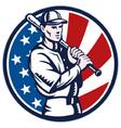 American baseball player retro vector